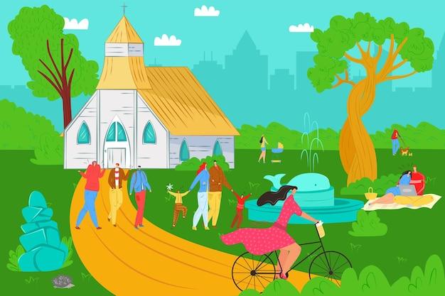 Mensen levensstijl in park vector illustratie platte jonge man vrouw karakter lopen buiten zomer natuur...