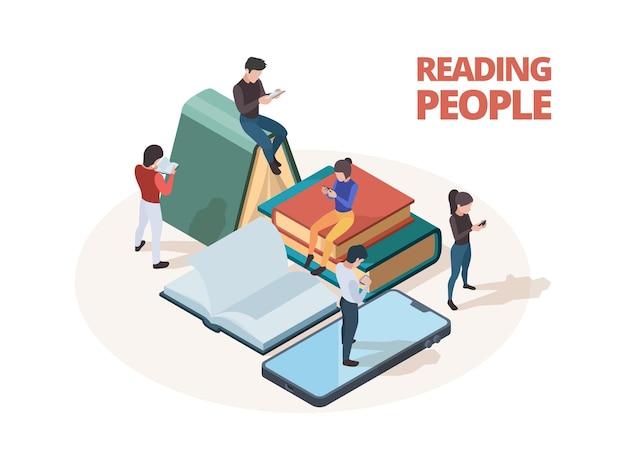 Mensen lezen. bestudeer personen met boeken, kranten en smartphones die in de bibliotheek lezen