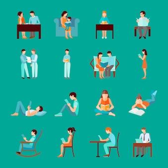 Mensen lezen die zittende en staande figuren neerzetten