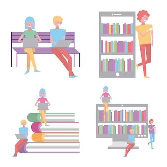 Mensen lezen in laptop mobiele boeken online