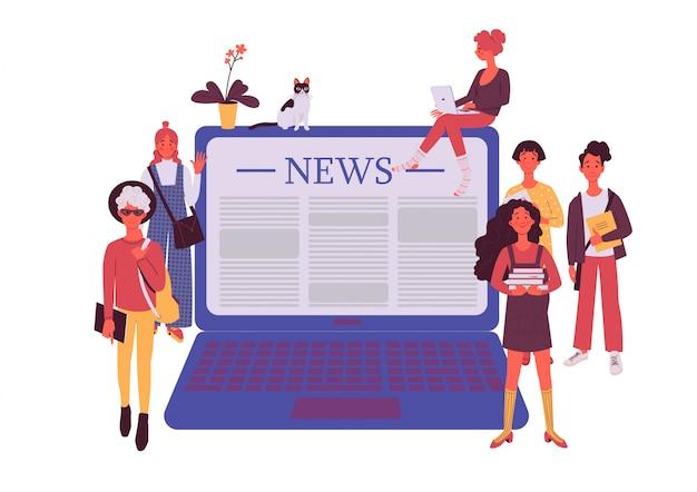 Mensen lezen online nieuwsartikel op tabletscherm. gelukkig persoon die webservice gebruikt om nieuws te lezen.