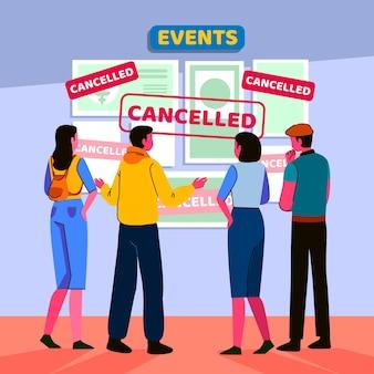 Mensen lezen over geannuleerde evenementen