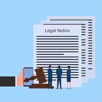 Mensen lezen over juridische kennisgeving en wetgeving.
