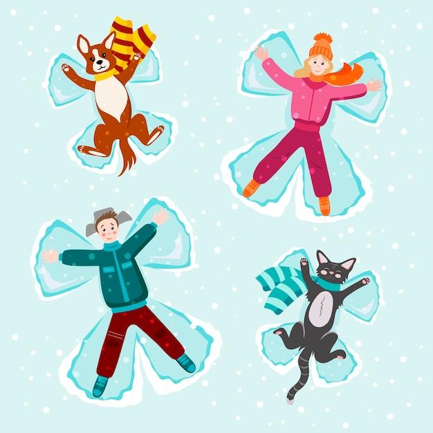 Mensen liggen in de sneeuw met een hond en een kat. engelen maken met sneeuw. sneeuw engel concept. vector wenskaartsjabloon met gelukkige mensen en grappige huisdieren.