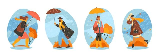 Mensen lopen bij regenweer vector illustraties