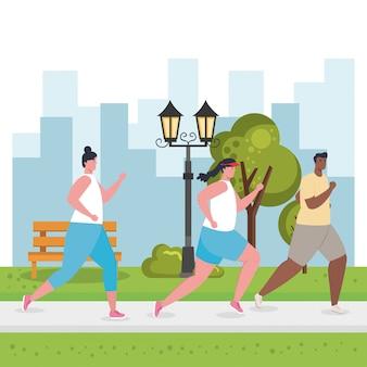 Mensen lopen buiten, jongeren in sportkleding joggen in het park