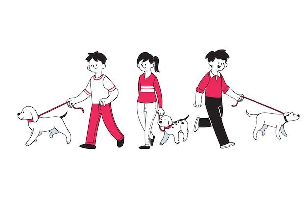 Mensen lopen de hond cartoon stijl