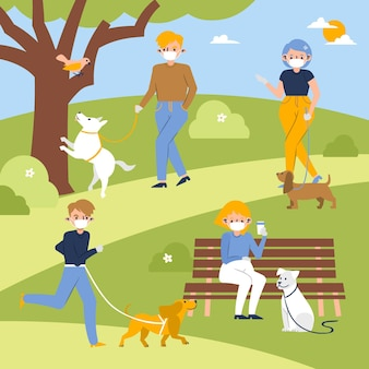 Mensen lopen de hond in park