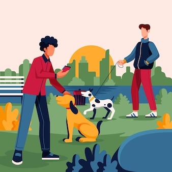 Mensen lopen de hond