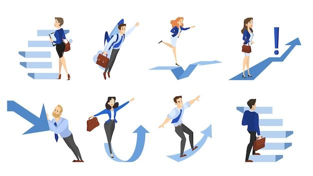 Mensen lopen de trap op of pijl die omhoog wijst. idee van groei en vooruitgang. verzameling van zakelijke karakter klimmen naar een succesvol leven. geïsoleerde platte vectorillustratie