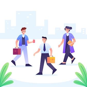 Mensen lopen en gaan naar hun werk