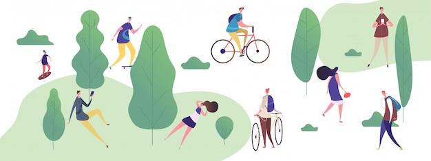 Mensen lopen en ontspannen in het park, buitenactiviteiten illustratie
