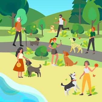 Mensen lopen en spelen met hun hond in het park. gelukkig vrouwelijk en mannelijk karakter en huisdier brengen samen tijd door. vriendschap tussen dier en persoon.