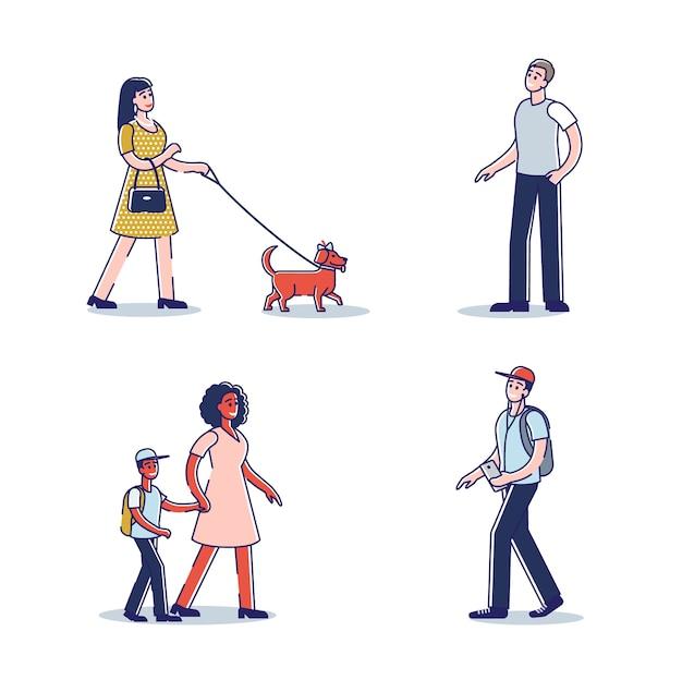 Mensen lopen. geïsoleerde stripfiguren gaan vooruit