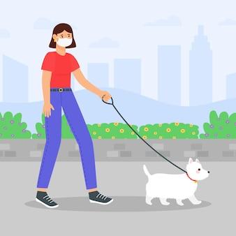 Mensen lopen het concept van de hond