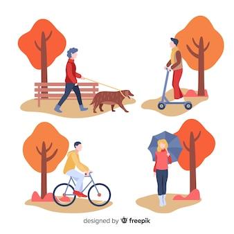 Mensen lopen in de herfstcollectio