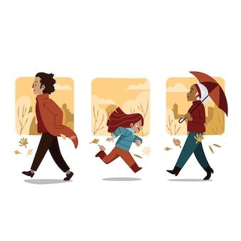 Mensen lopen in herfst concept