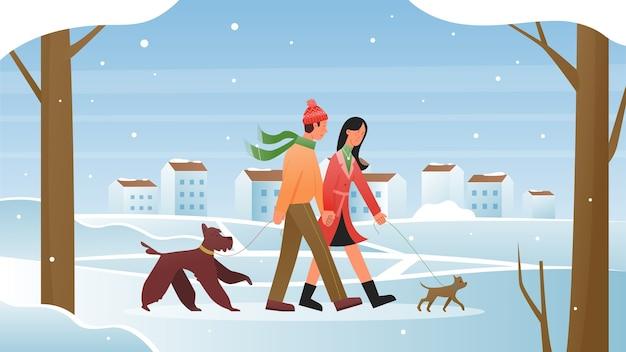 Mensen lopen in winter illustratie