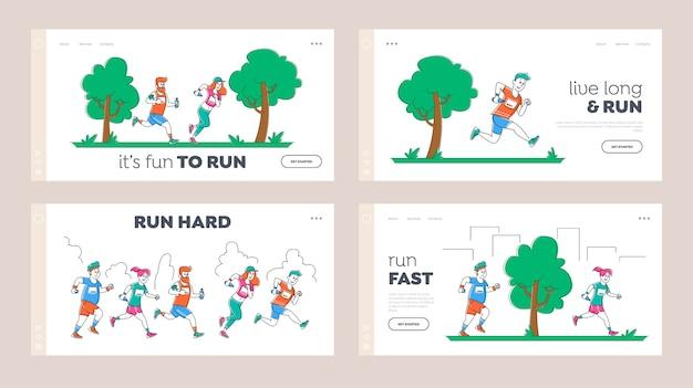 Mensen lopen marathon-bestemmingspagina sjabloon set