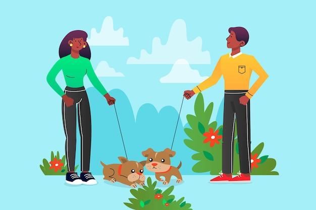 Mensen lopen met hun huisdieren buiten