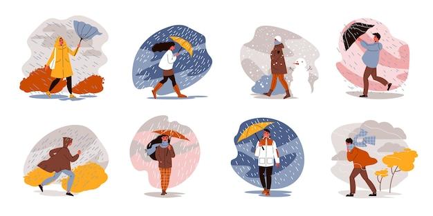 Mensen lopen met paraplu's weer set van geïsoleerde composities met regenachtige landschappen