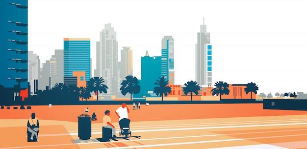 Mensen lopen ontspannen concept over wolkenkrabber gebouwen moderne stadsgezicht