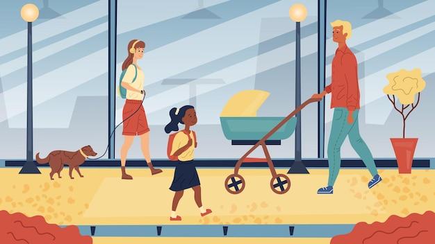 Mensen lopen op straat binnen. cityscape skyline, man met kinderwagen, meisje met koptelefoon en met een hond aangelijnd en schoolmeisje. vlakke stijl