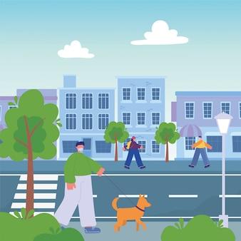Mensen lopen op straat met stadsgezicht, man met hond meisje
