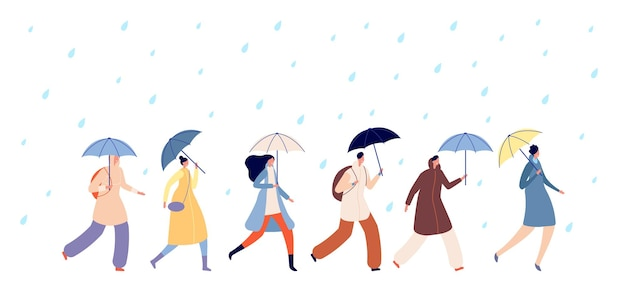Mensen lopen regenachtig weer. volwassene met paraplu, man meisje lopen op regen. herfstseizoen waterdruppels, volwassen persoon gaat in stormvector. seizoen regen herfst, mensen met paraplu gaan illustratie