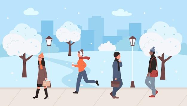 Mensen lopen, rennen in straat stadspark in de winter