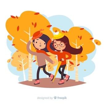 Mensen lopen samen in de herfst