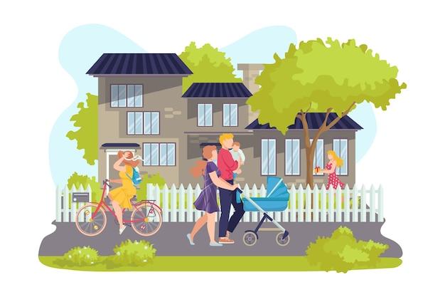 Mensen lopen samen over straat en gelukkige familie