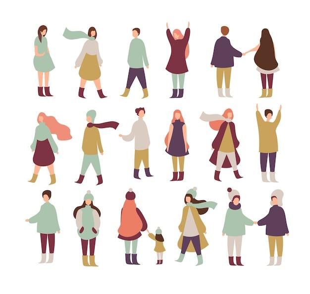 Mensen lopen, staan. verzameling van mannelijke en vrouwelijke personages in platte cartoon-stijl.