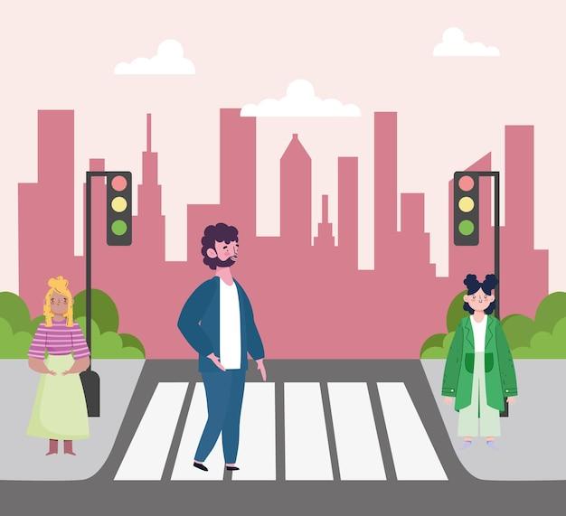 Mensen lopen straat Premium Vector