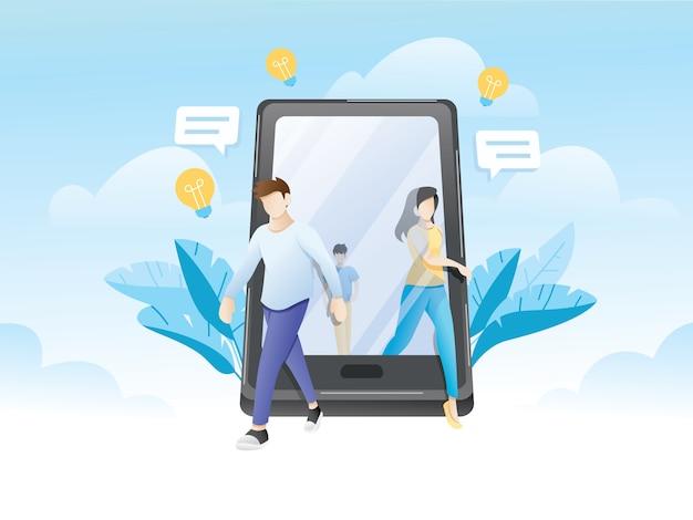 Mensen lopen uit gigantische smartphone