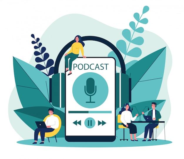 Mensen luisteren luidsprekers van omroepstation