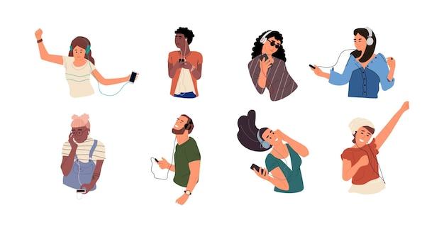 Mensen luisteren naar muziek illustratie