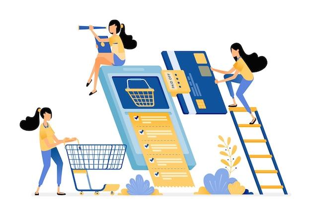 Mensen maandelijkse factuurbetalingen, winkelen en kopen dagelijkse benodigdheden groothandel op e-commerce