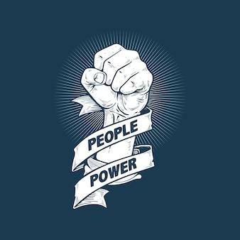 Mensen macht revolutie kunstontwerp