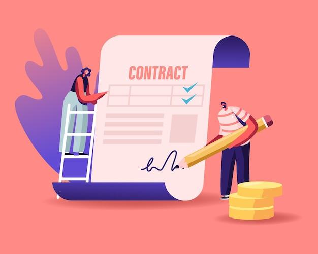 Mensen maken een dealovereenkomst, controleren en ondertekenen een leningscontract.