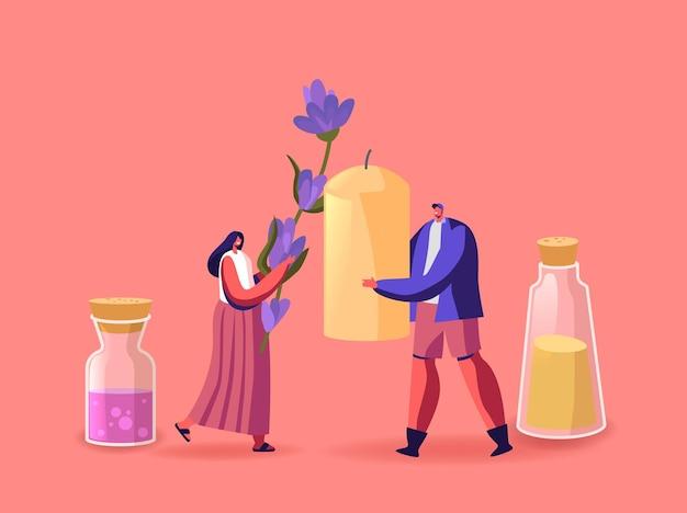Mensen maken en gebruiken aromakaarsen voor de illustratie van het huisdecoratie