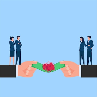Mensen maken geld over naar andere, maar viruscrash it-metafoor van financiële crisis