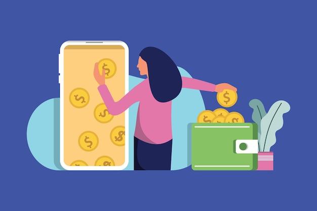 Mensen maken geld over van smartphone naar portemonnee vectorillustratie online cashback-service m