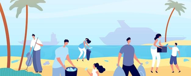 Mensen maken strand schoon. man die de natuur schoonmaakt, vrijwilligers redden de waterkant van het milieu. oceaan kust ecologie, plastic afval vuilnis vector concept. mensen strand vrijwilliger, vrouw en man activist illustratie