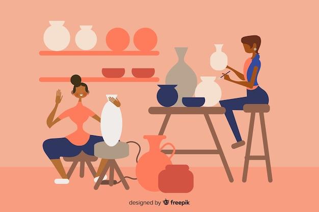 Mensen maken van aardewerk plat ontwerp