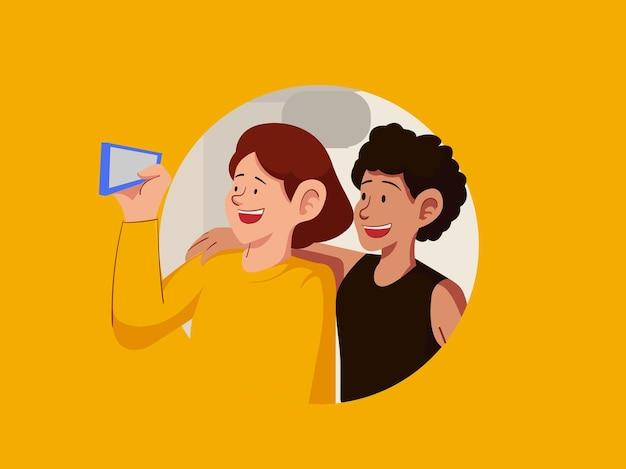 Mensen maken vrolijke foto's selfie-illustratie