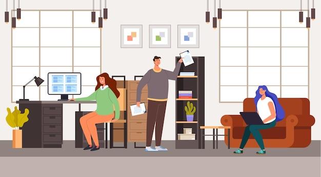Mensen man vrouw kantoorpersoneel karakter werken. office leven concept. Premium Vector