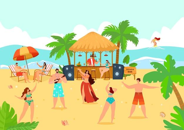 Mensen man vrouw op zomer beach party