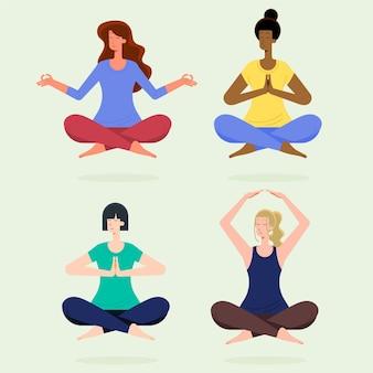 Mensen mediteren collectie plat ontwerp