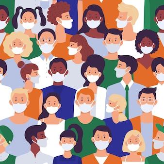 Mensen menigte in gezichtsmaskers naadloze patroon